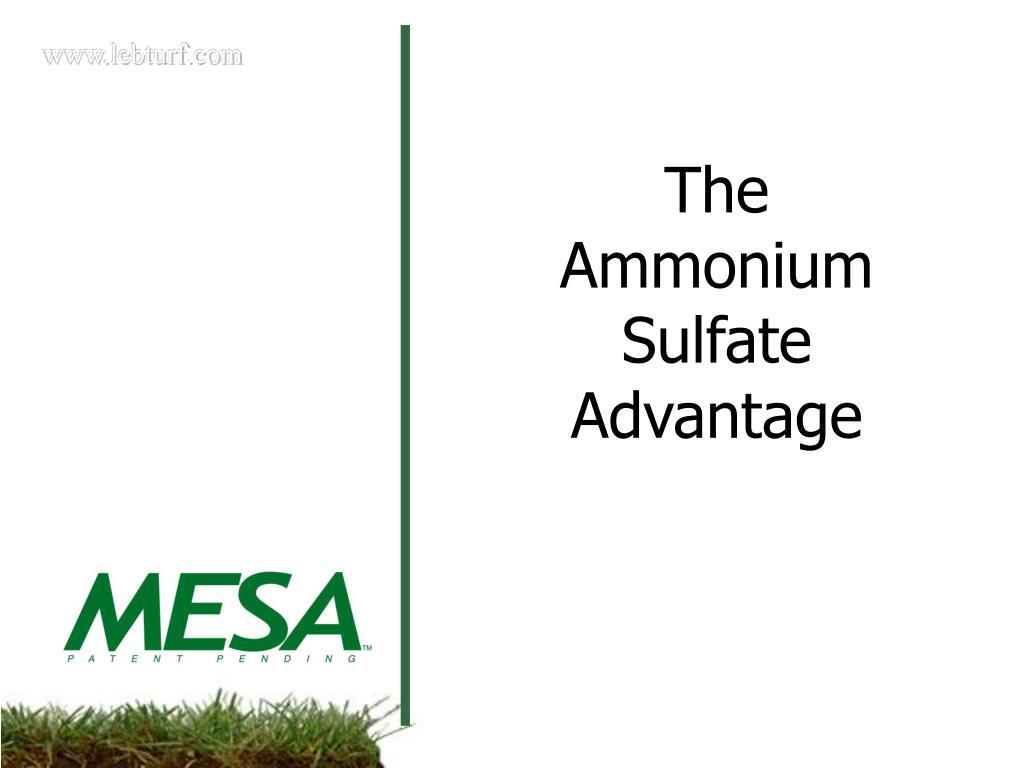 The Ammonium Sulfate Advantage