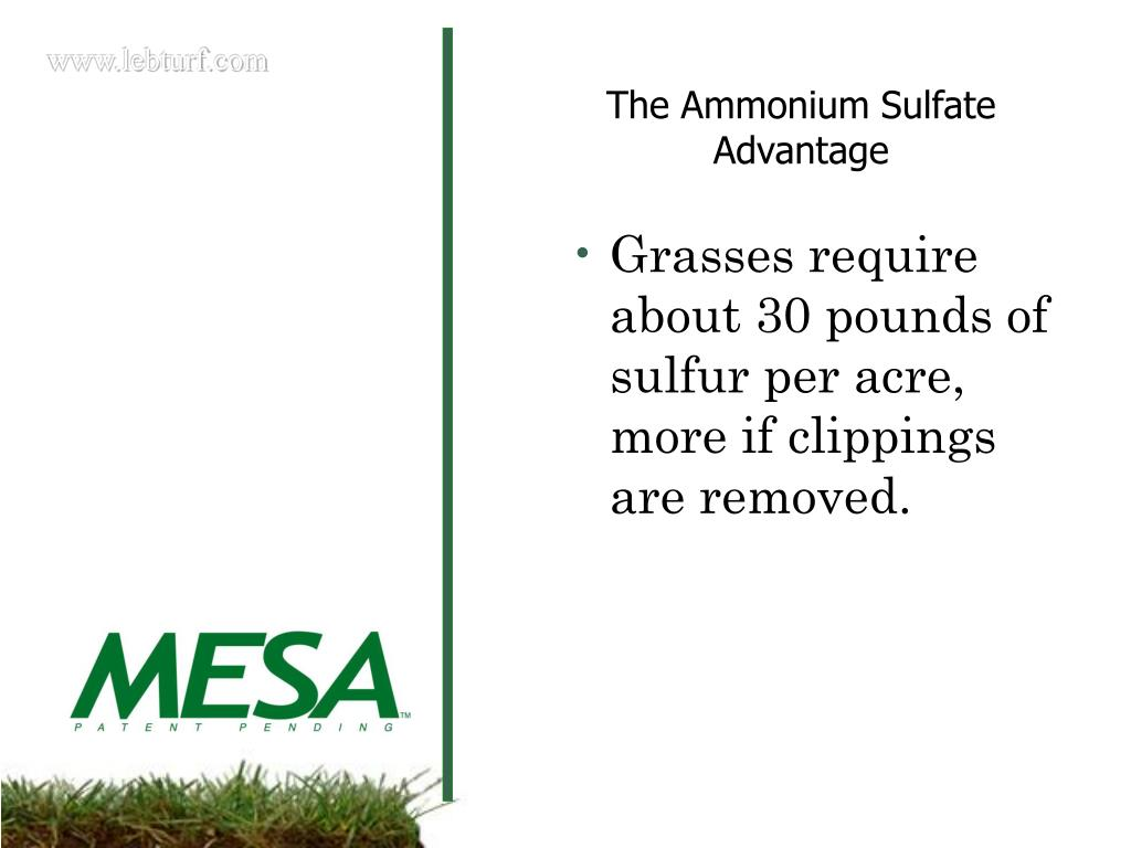 Grasses require about 30 pounds of sulfur per acre, more if clippings are removed.
