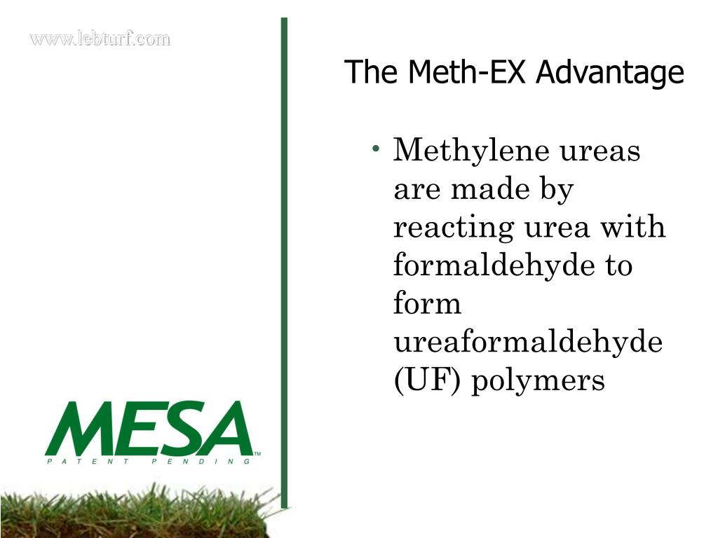 Methylene ureas are made by reacting urea with formaldehyde to form ureaformaldehyde (UF) polymers