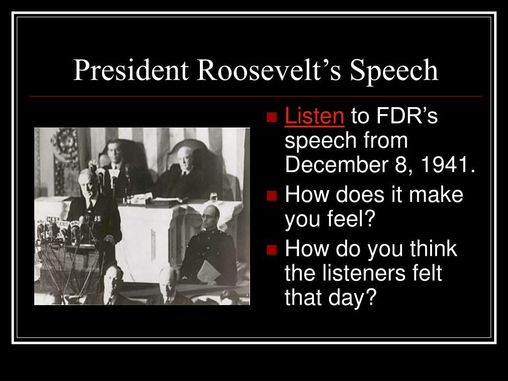 President Roosevelt's Speech