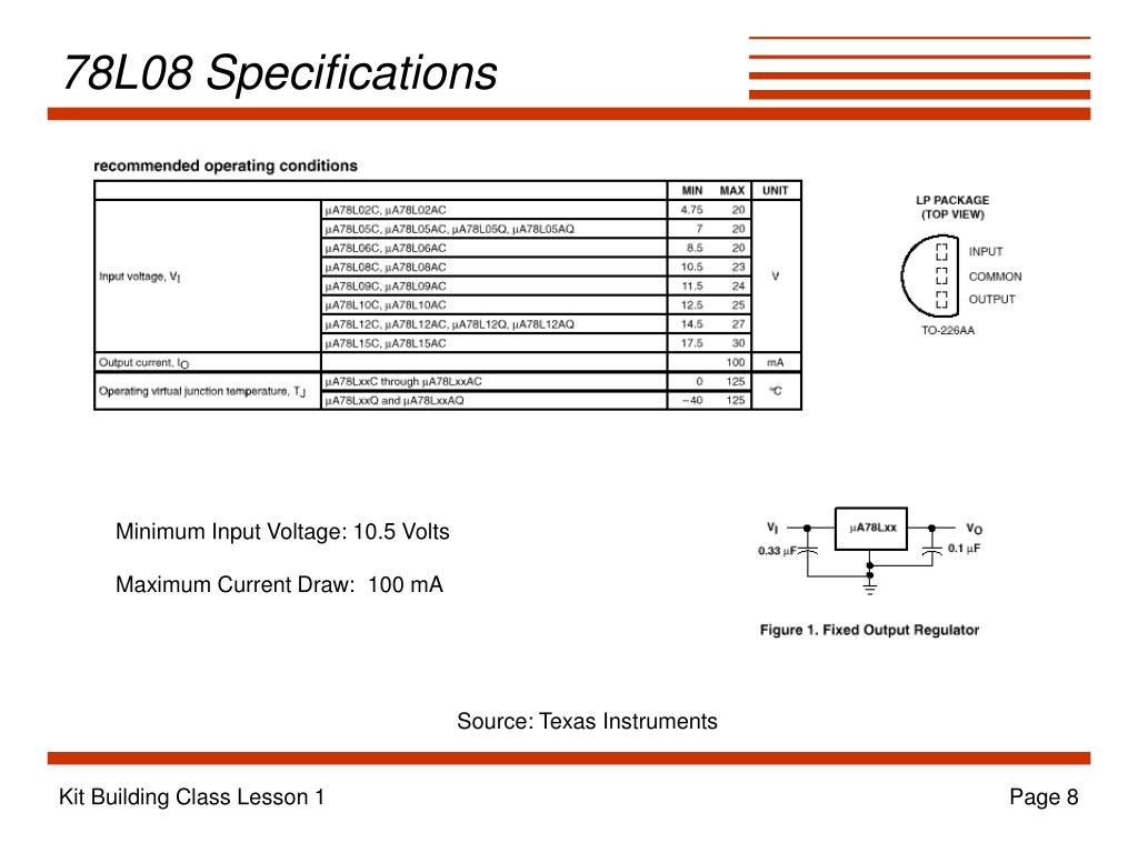 78L08 Specifications