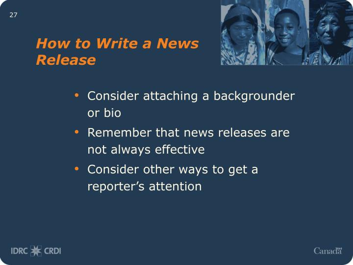How to Write a News Release