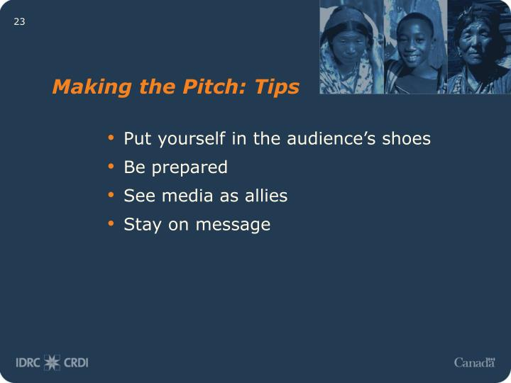 Making the Pitch: Tips