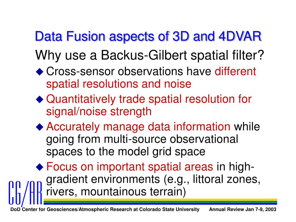 Data Fusion aspects of 3D and 4DVAR