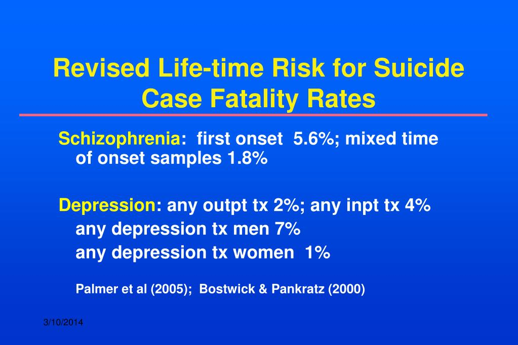 Revised Life-time Risk for Suicide Case Fatality Rates