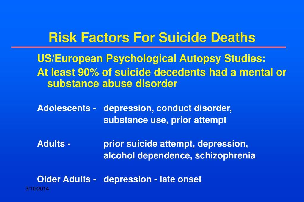 Risk Factors For Suicide Deaths