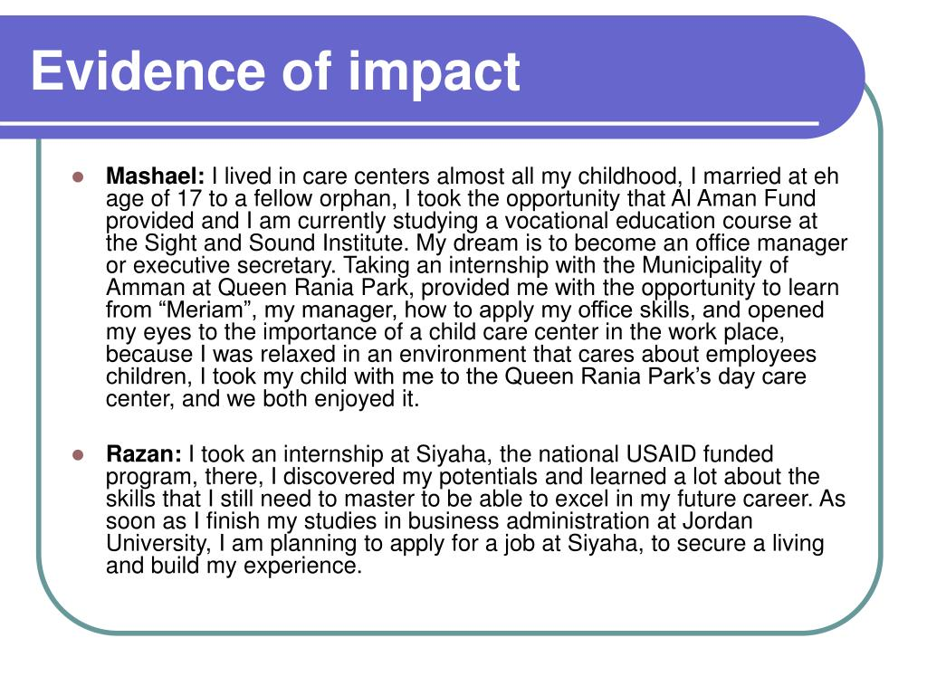 Evidence of impact