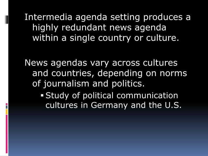 Intermedia agenda setting produces a highly redundant news agenda within a single country or culture.