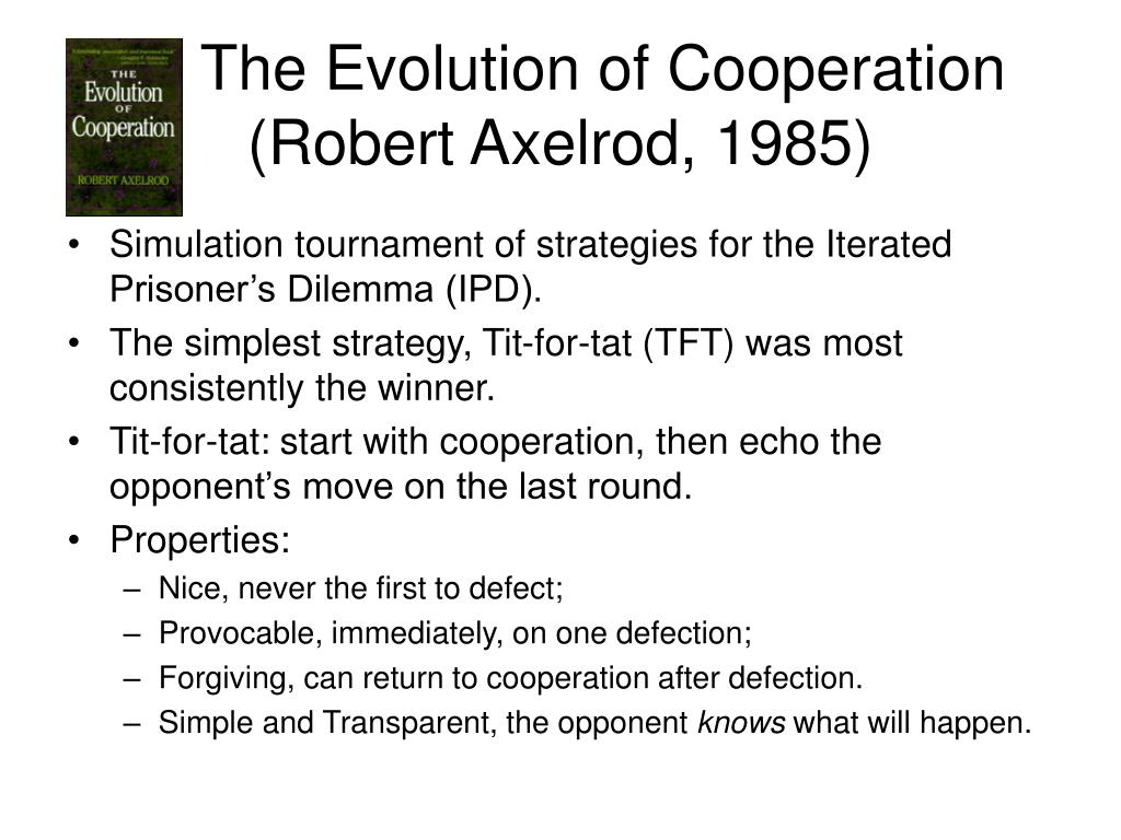 The Evolution of Cooperation (Robert Axelrod, 1985)