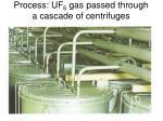 process uf 6 gas passed through a cascade of centrifuges