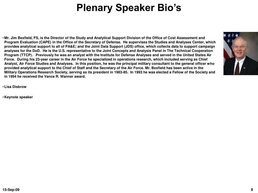 Plenary Speaker Bio's