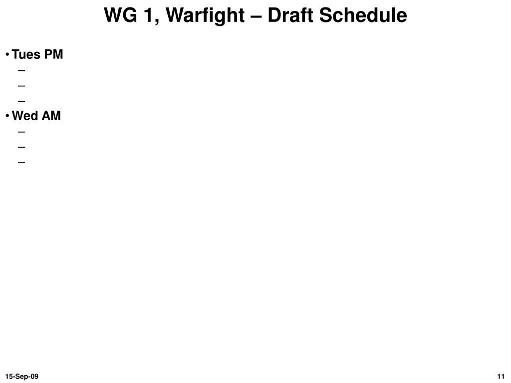WG 1, Warfight – Draft Schedule