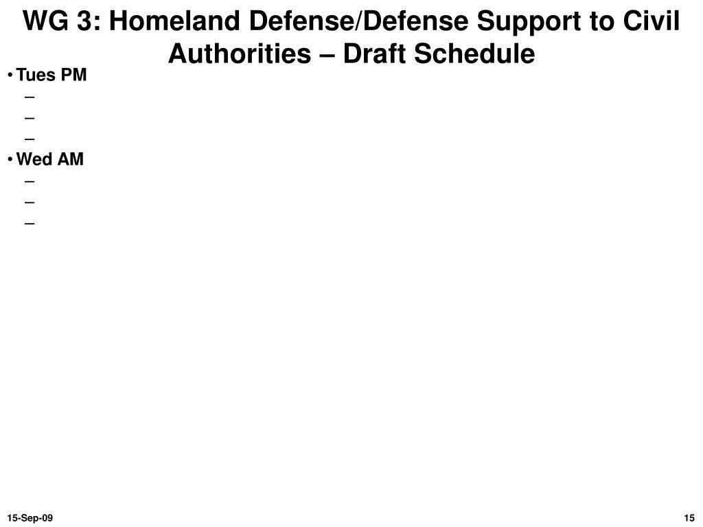 WG 3: Homeland Defense/Defense Support to Civil Authorities – Draft Schedule