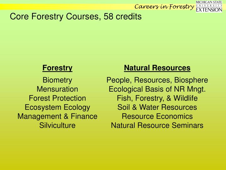 Core Forestry Courses, 58 credits