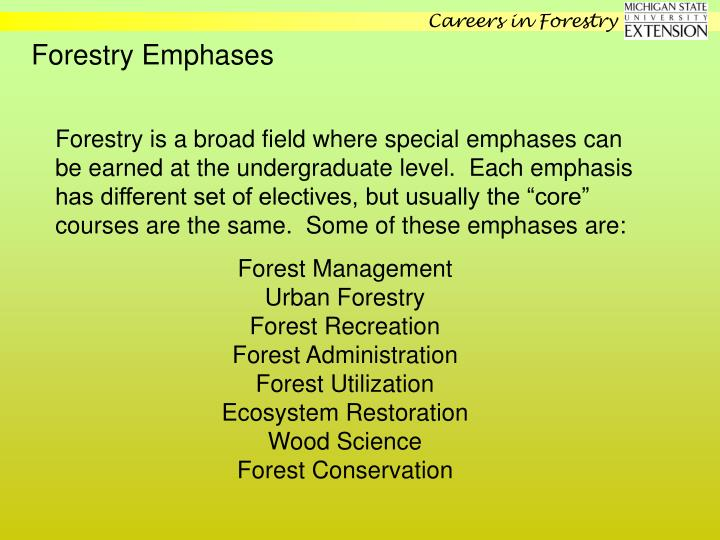 Forestry Emphases