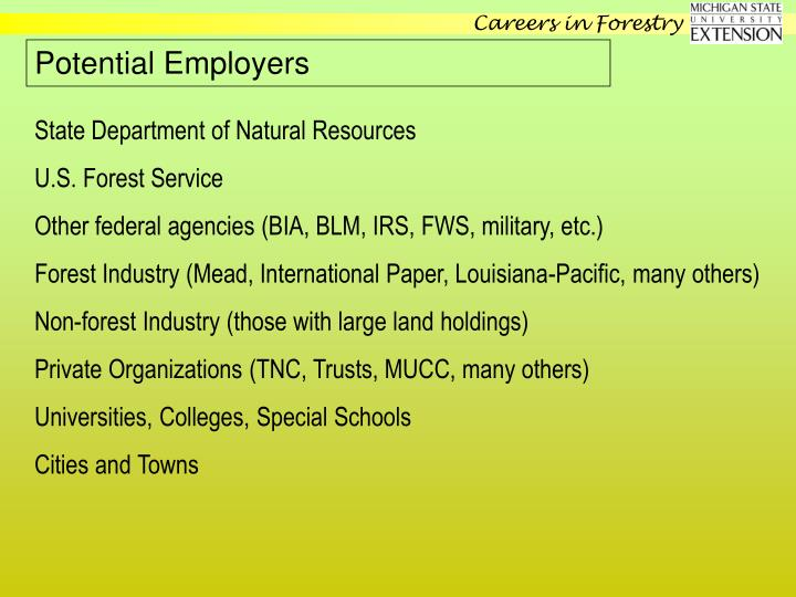 Potential Employers