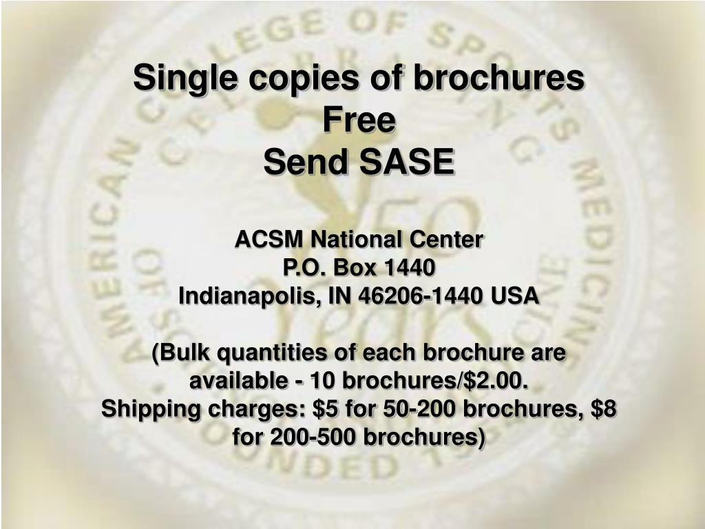 Single copies of brochures