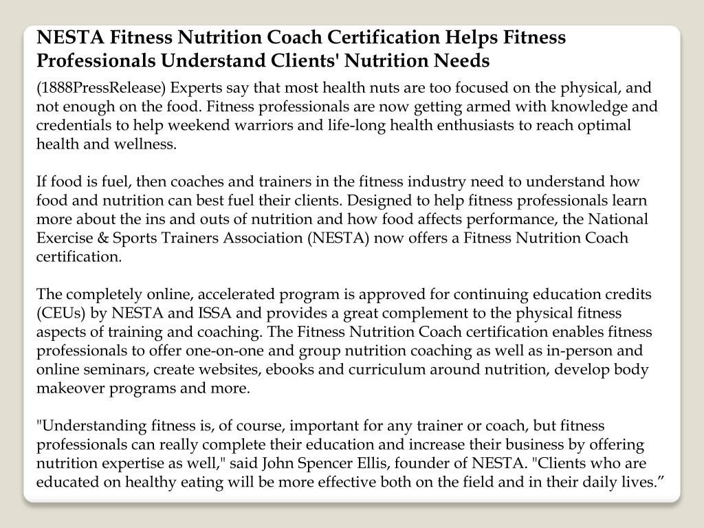 NESTA Fitness Nutrition Coach Certification Helps Fitness Professionals Understand Clients' Nutrition Needs