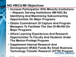 ng hbcu mi objectives