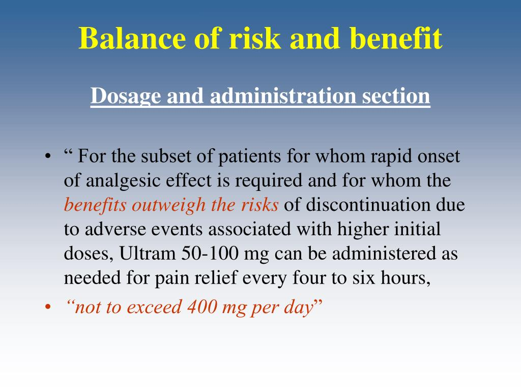 Balance of risk and benefit