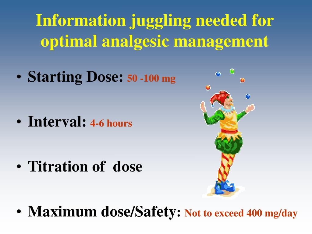 Information juggling needed for optimal analgesic management