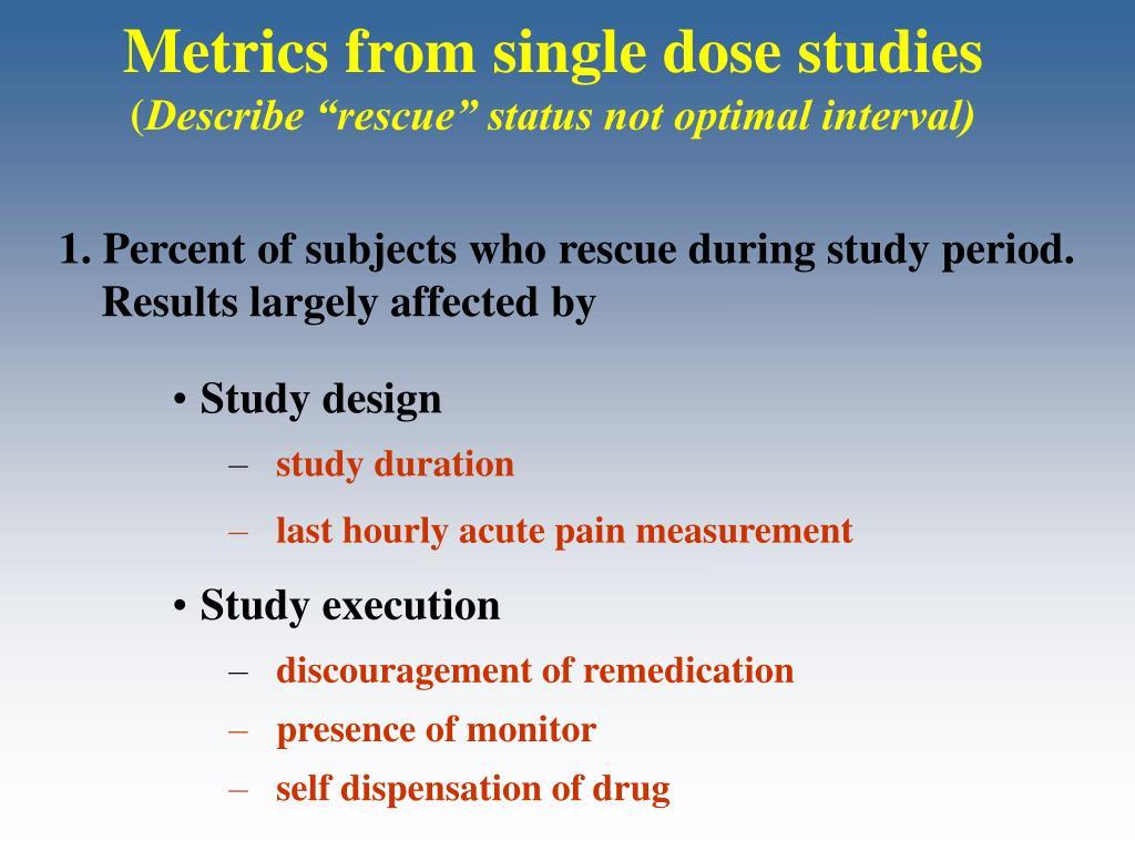 Metrics from single dose studies