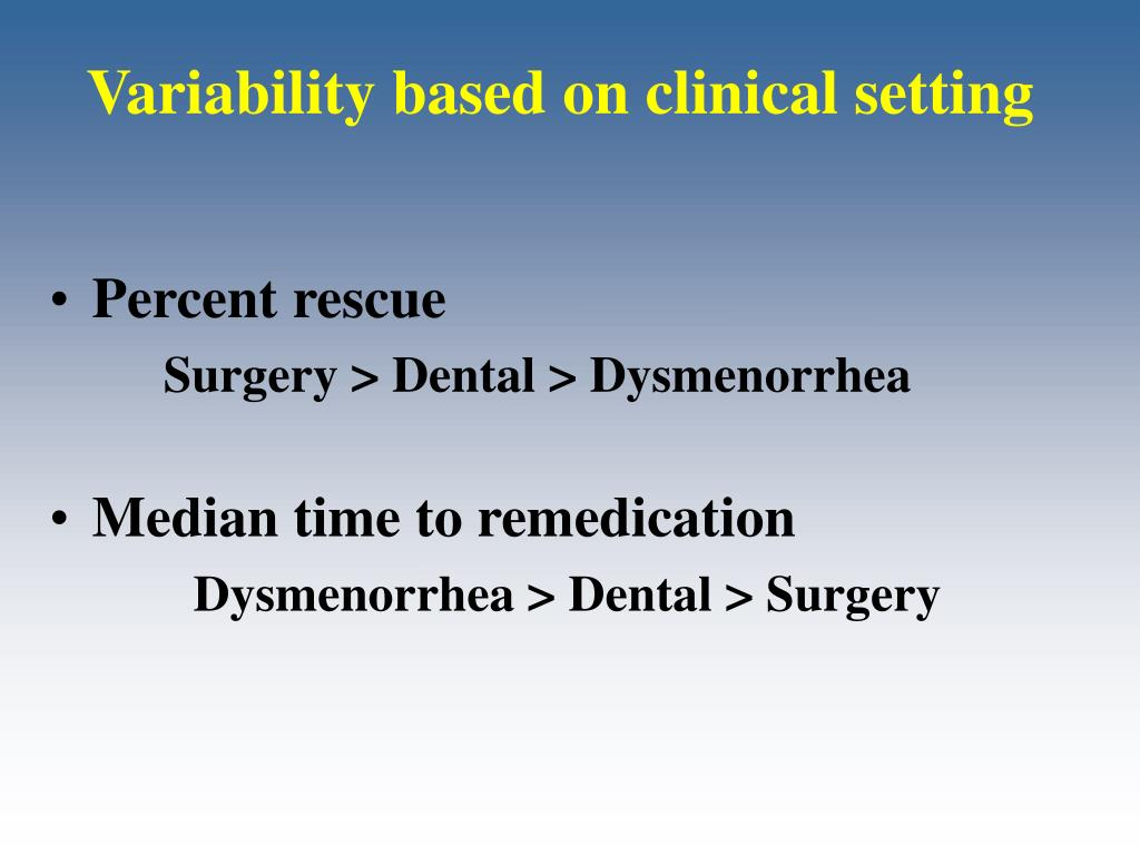 Variability based on clinical setting