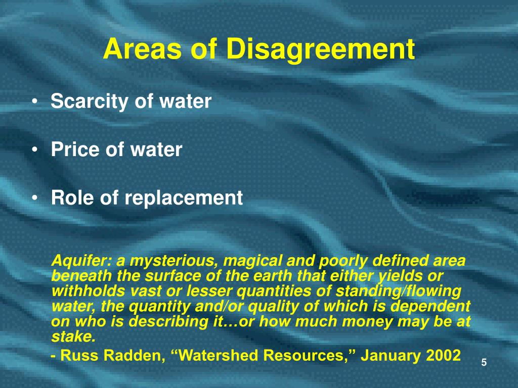 Areas of Disagreement