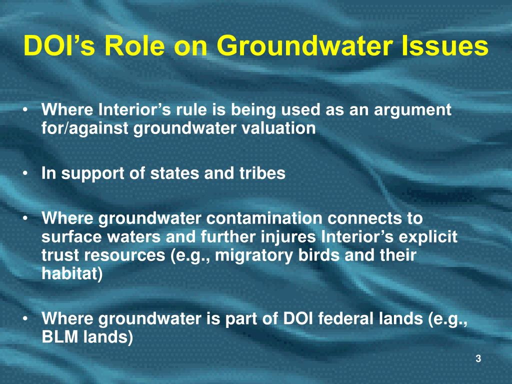 DOI's Role on Groundwater Issues