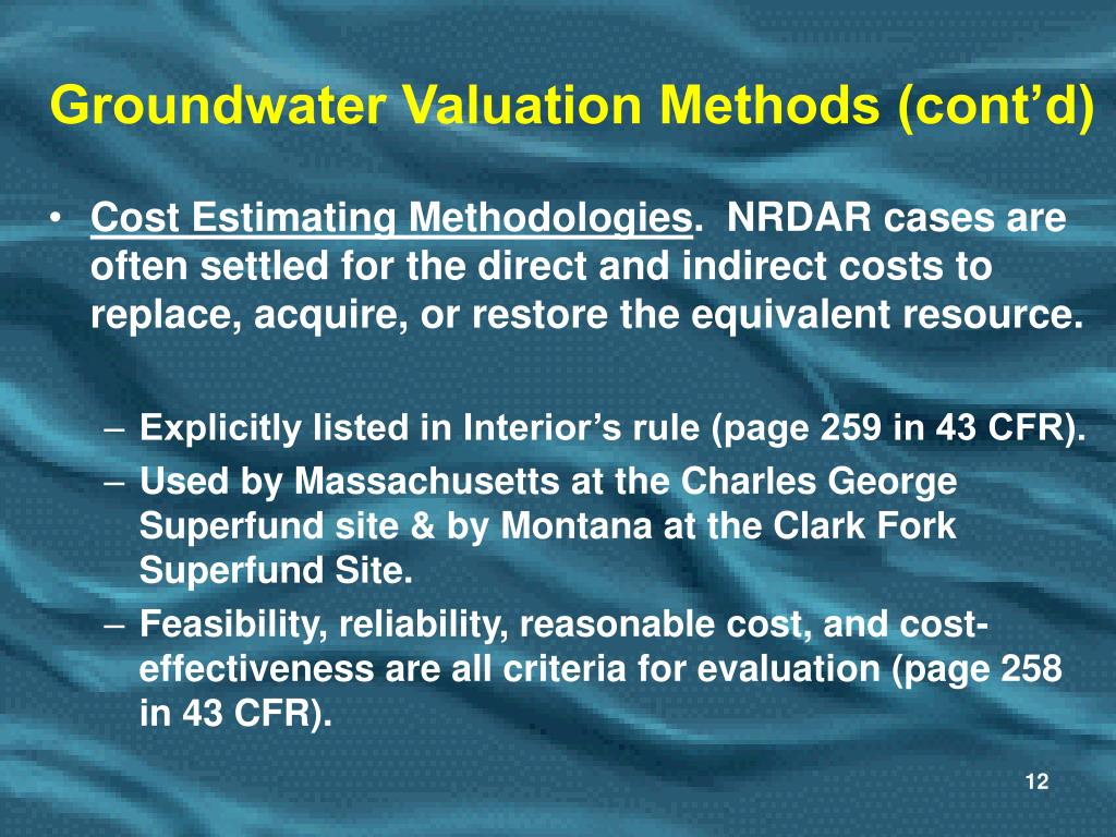 Groundwater Valuation Methods (cont'd)