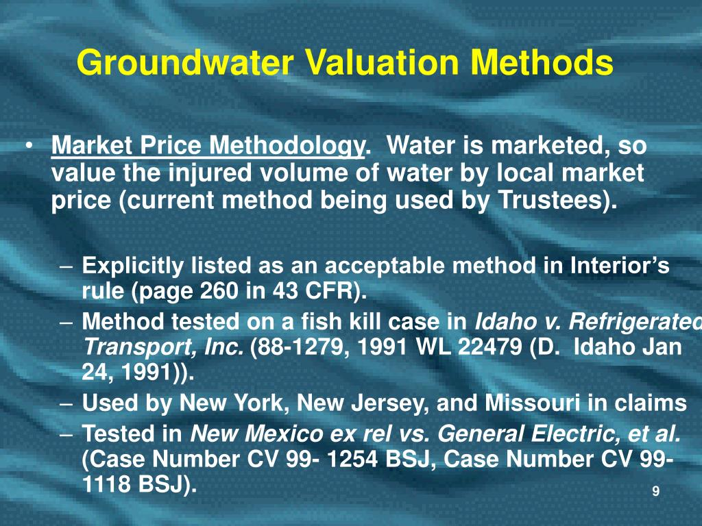 Groundwater Valuation Methods