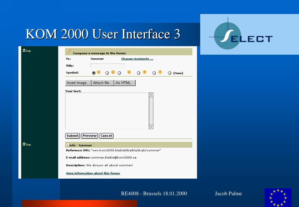 KOM 2000 User Interface 3