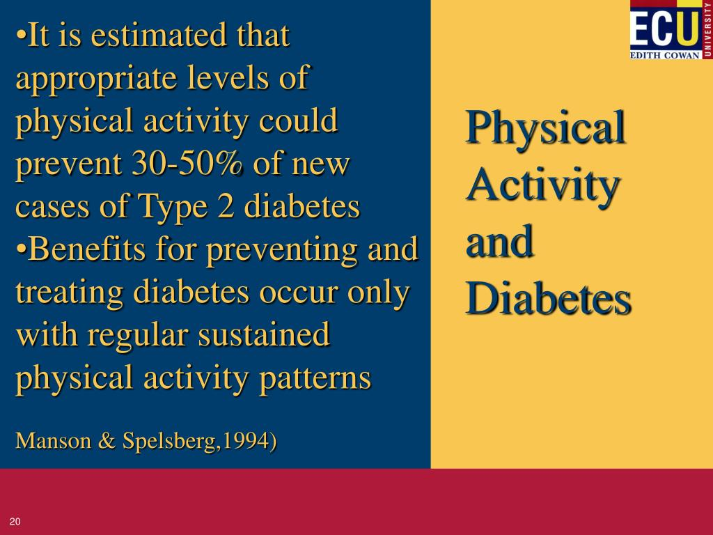 It is estimated that appropriate levels of physical activity could prevent 30-50% of new cases of Type 2 diabetes
