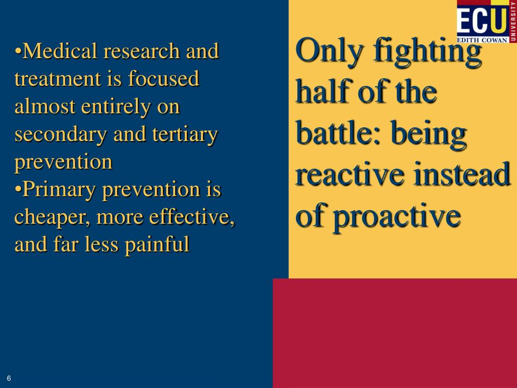 Only fighting half of the battle: being reactive instead of proactive