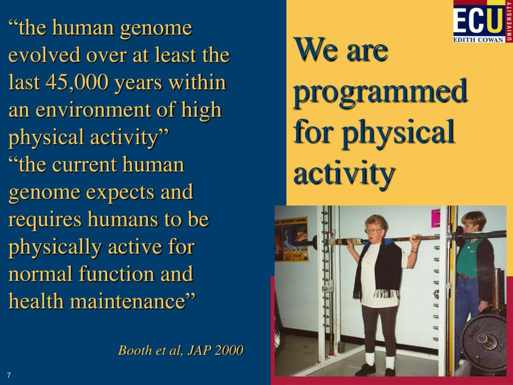 """the human genome evolved over at least the last 45,000 years within an environment of high physical activity"""