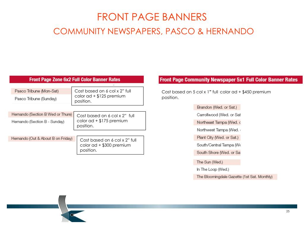 FRONT PAGE BANNERS