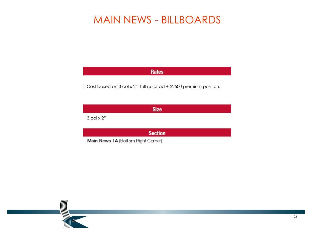 MAIN NEWS - BILLBOARDS