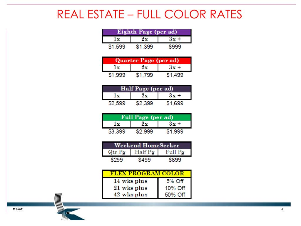 REAL ESTATE – FULL COLOR RATES