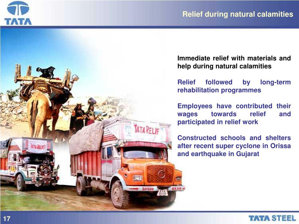 Relief during natural calamities