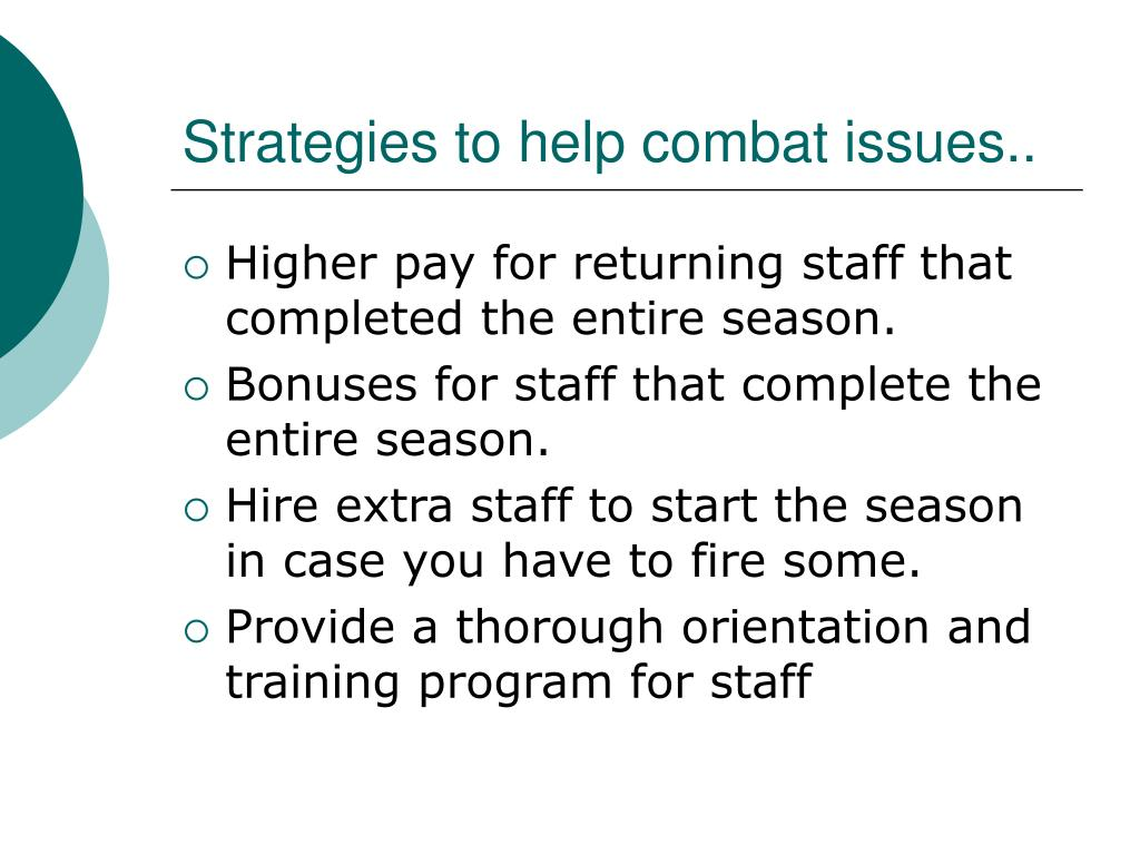 Strategies to help combat issues..