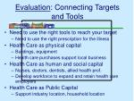 evaluation connecting targets and tools