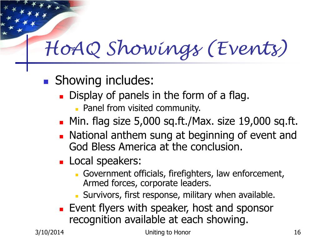 HoAQ Showings (Events)