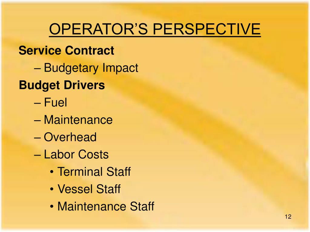 OPERATOR'S PERSPECTIVE