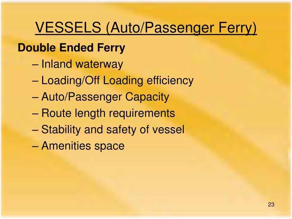 VESSELS (Auto/Passenger Ferry)
