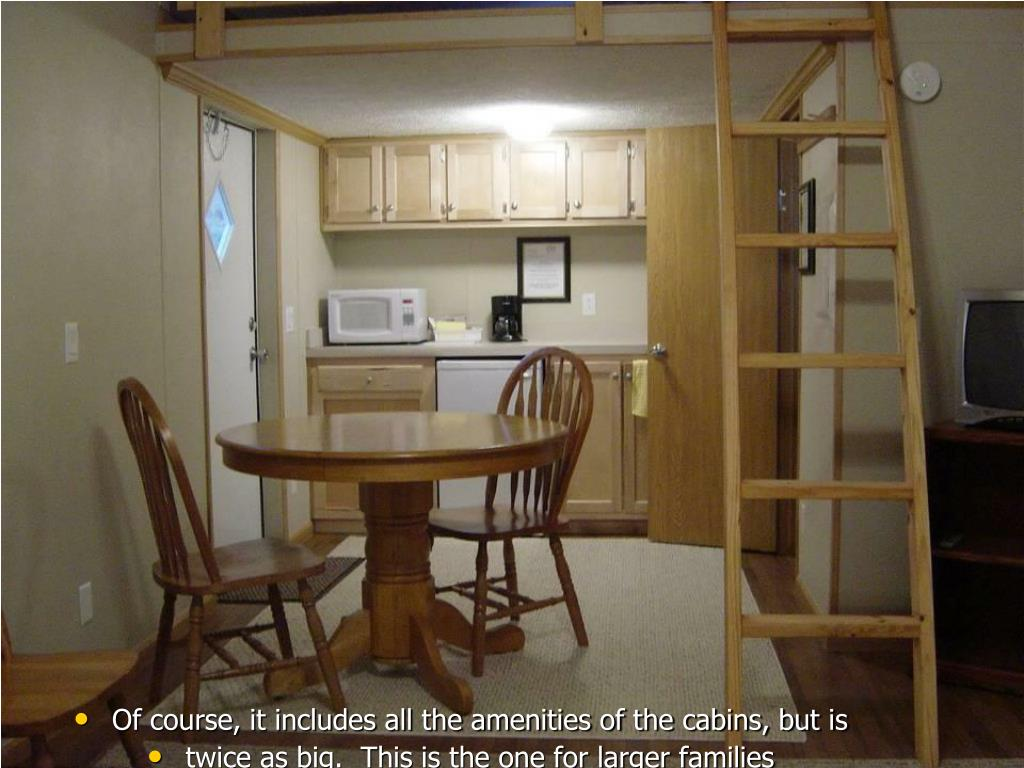 Of course, it includes all the amenities of the cabins, but is