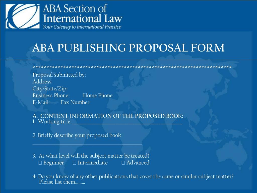 ABA PUBLISHING PROPOSAL FORM