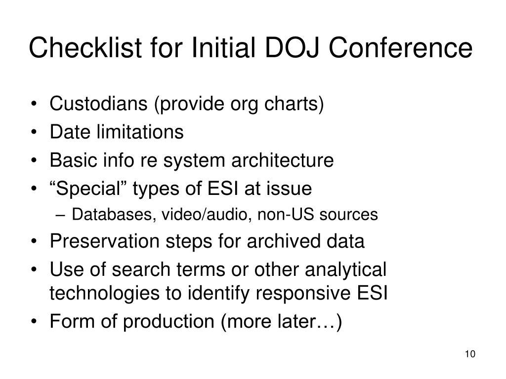Checklist for Initial DOJ Conference