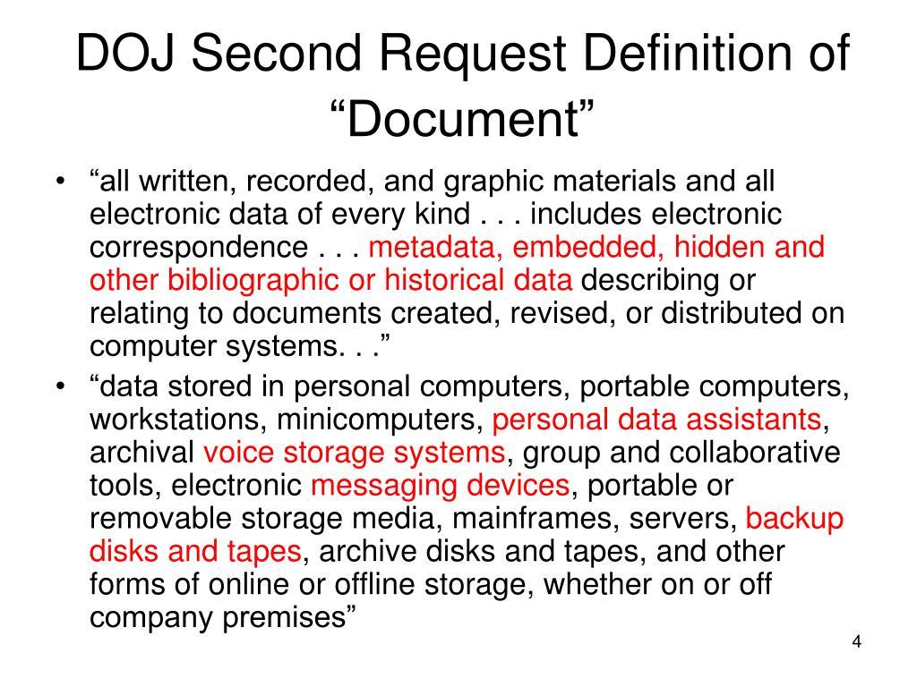 "DOJ Second Request Definition of ""Document"""