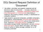 doj second request definition of document
