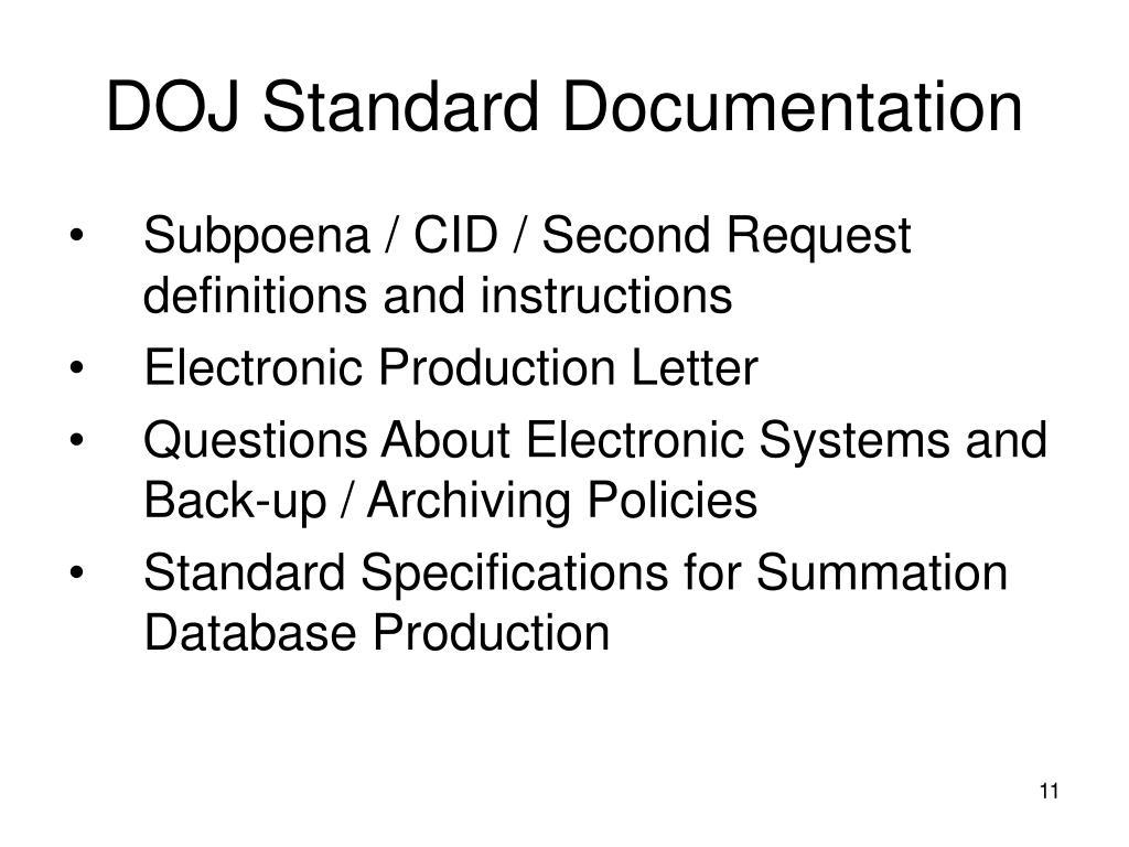 DOJ Standard Documentation